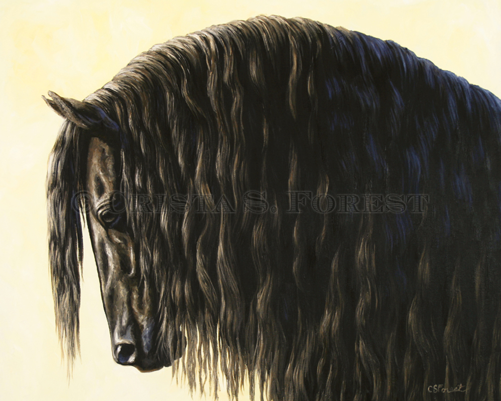 Oil painting of Friesian horse by equine artist Crista Forest, ForestStudios.com. Fine Art Prints available