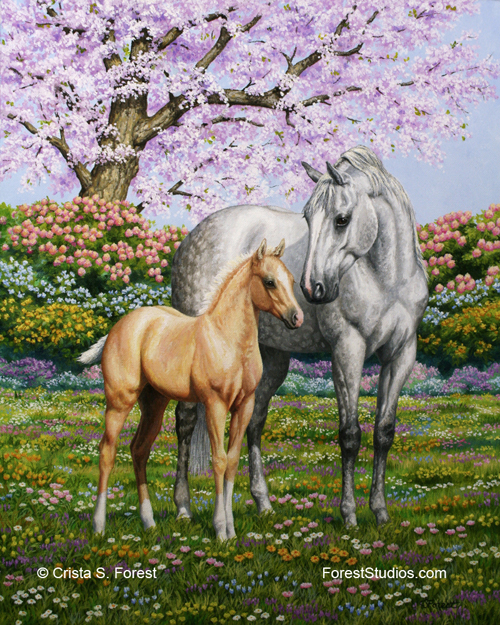 Oil painting of a mare and foal by equine artist Crista Forest, ForestStudios.com. Fine Art Prints available