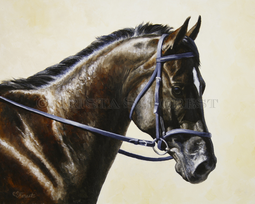 Oil painting of bay dressage horse by equine artist Crista Forest, ForestStudios.com. Fine Art Prints available
