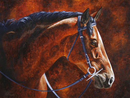 Oil painting of bay Hanoverian horse by equine artist Crista Forest, ForestStudios.com. Fine Art Prints available