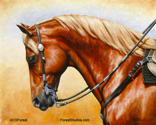 Oil painting of sorrel quarter horse by equine artist Crista Forest, ForestStudios.com. Fine Art Prints available