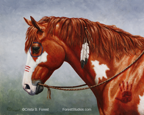 Oil painting of a Native American War Horse by equine artist Crista Forest