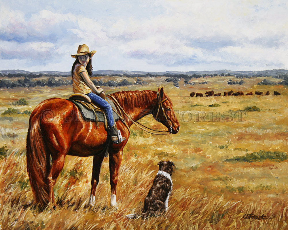 Oil painting of little cowgirl on a chestnut horse by equine artist Crista Forest, ForestStudios.com. Fine Art Prints available