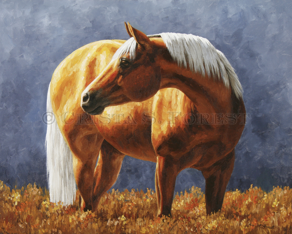 Oil painting of palomino quarter horse by equine artist Crista Forest, ForestStudios.com. Fine Art Prints available